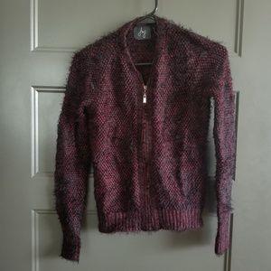 Eyelash Knit Zip-up Cardigan